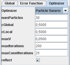 Particle Swarm Optimization Options